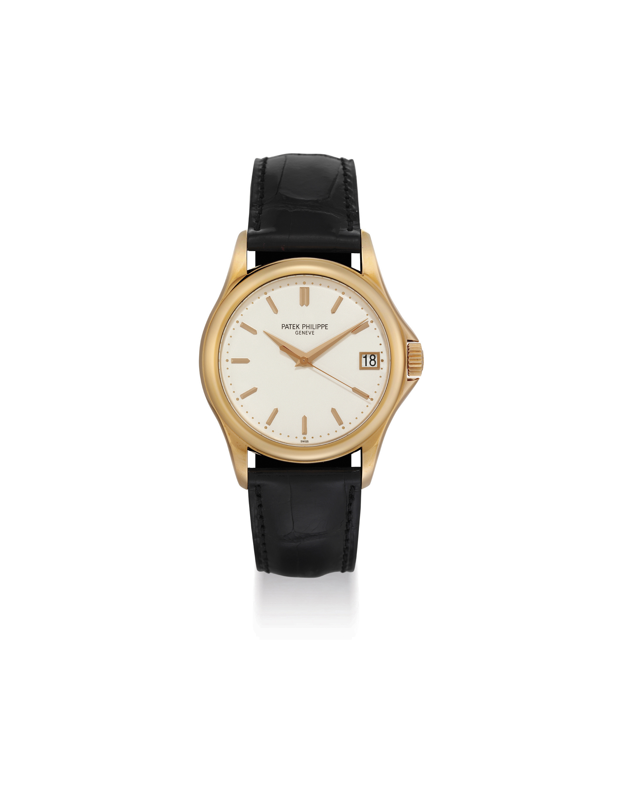 PATEK PHILIPPE. A FINE 18K PINK GOLD AUTOMATIC WRISTWATCH WITH SWEEP CENTRE SECONDS AND DATE