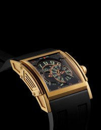 HD3. A LARGE AND RARE 18K GOLD LIMITED EDITION AUTOMATIC WRISTWATCH WITH ROTATING DIGITAL DISCS DISPLAY