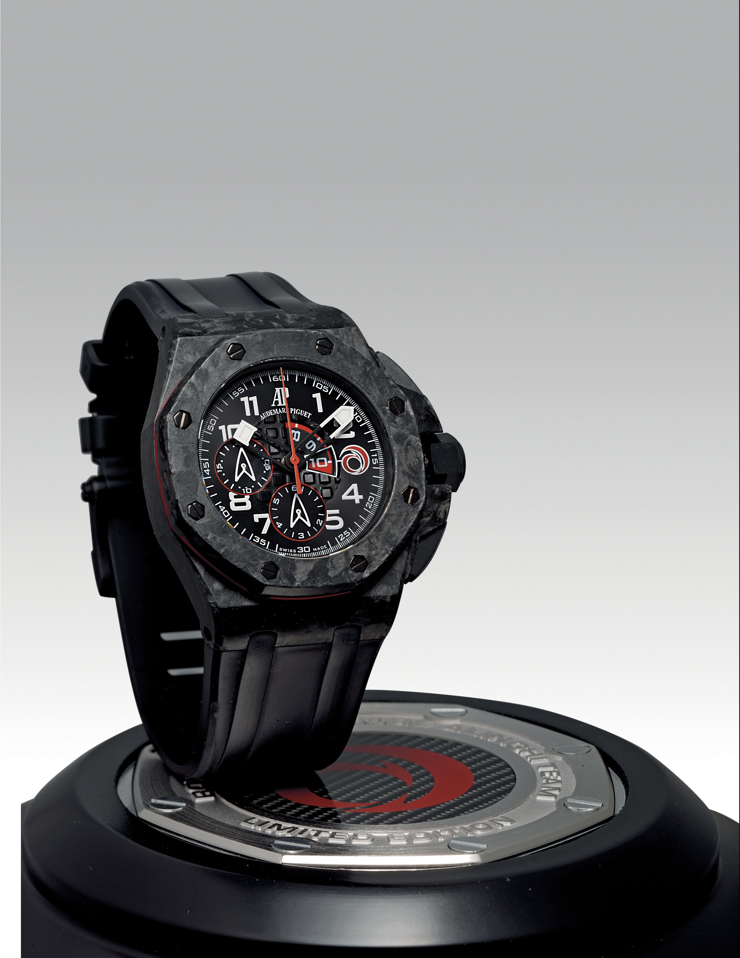 AUDEMARS PIGUET. AN OVERSIZED CARBON LIMITED EDITION AUTOMATIC FLYBACK CHRONOGRAPH WRISTWATCH WITH REGATTA COUNTDOWN