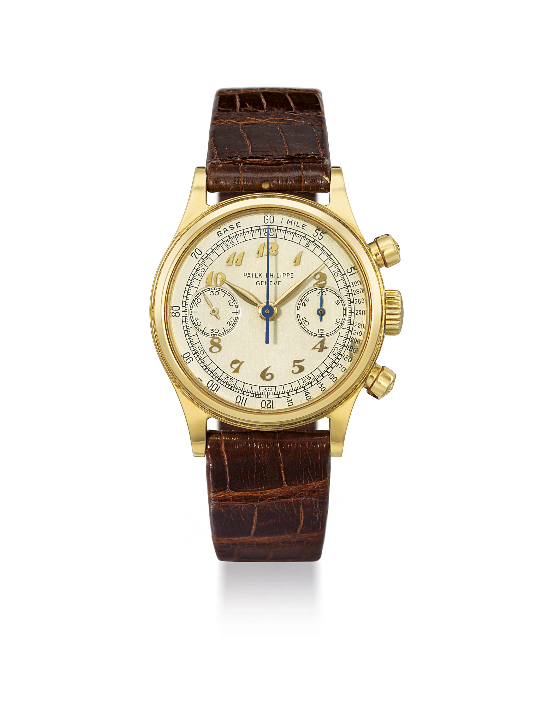 PATEK PHILIPPE. A VERY FINE AND RARE 18K GOLD CHRONOGRAPH WRISTWATCH WITH BREGUET NUMERALS