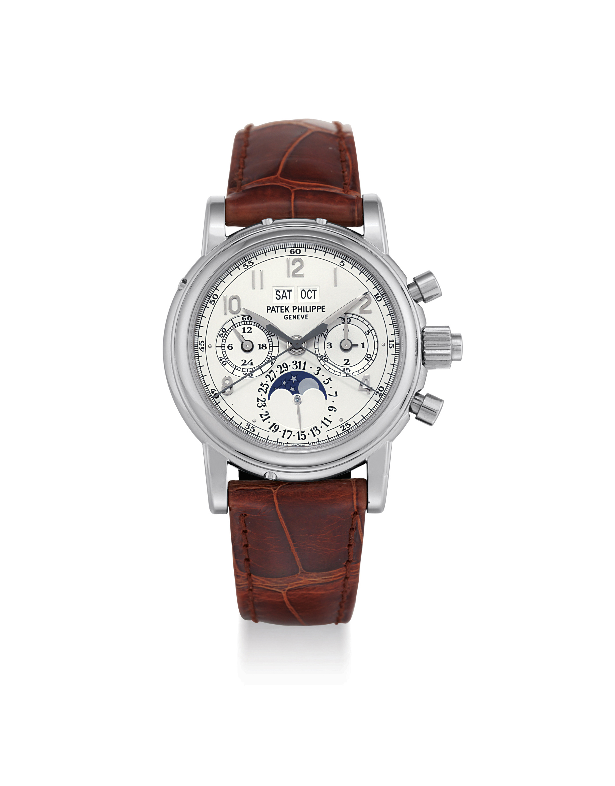 PATEK PHILIPPE. A FINE AND RARE 18K WHITE GOLD PERPETUAL CALENDAR SPLIT SECONDS CHRONOGRAPH WRISTWATCH WITH MOON PHASES, LEAP YEAR INDICATION, ORIGINAL CERTIFICATE, ADDITIONAL CASE BACK AND BOX