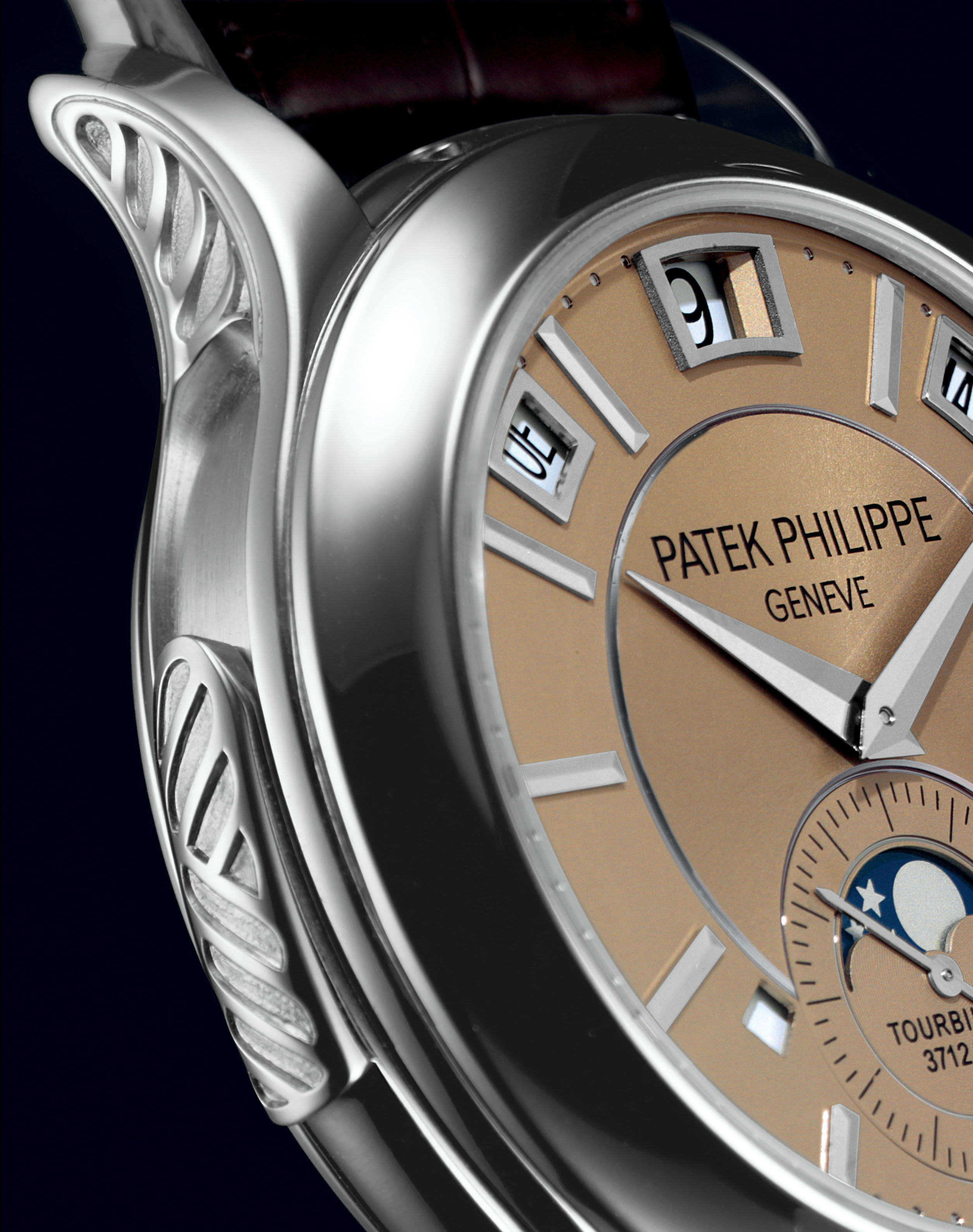 PATEK PHILIPPE. A VERY FINE AND EXTREMELY RARE PLATINUM MINUTE REPEATING INSTANTANEOUS PERPETUAL CALENDAR TOURBILLON WRISTWATCH WITH LEAP YEAR INDICATOR, DAY/NIGHT DISPLAY, ORIGINAL CERTIFICATE AND BOX, AND ADDITIONAL CASE BACK