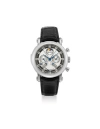 FRANCK MULLER. A FINE, VERY RARE AND IMPORTANT PLATINUM MINUTE REPEATING PERPETUAL CALENDAR TOURBILLON SPLIT SECONDS CHRONOGRAPH WRISTWATCH WITH RETROGRADE EQUATION OF TIME, LEAP YEAR INDICATOR, MOON PHASES, BOX AND CERTIFICATE