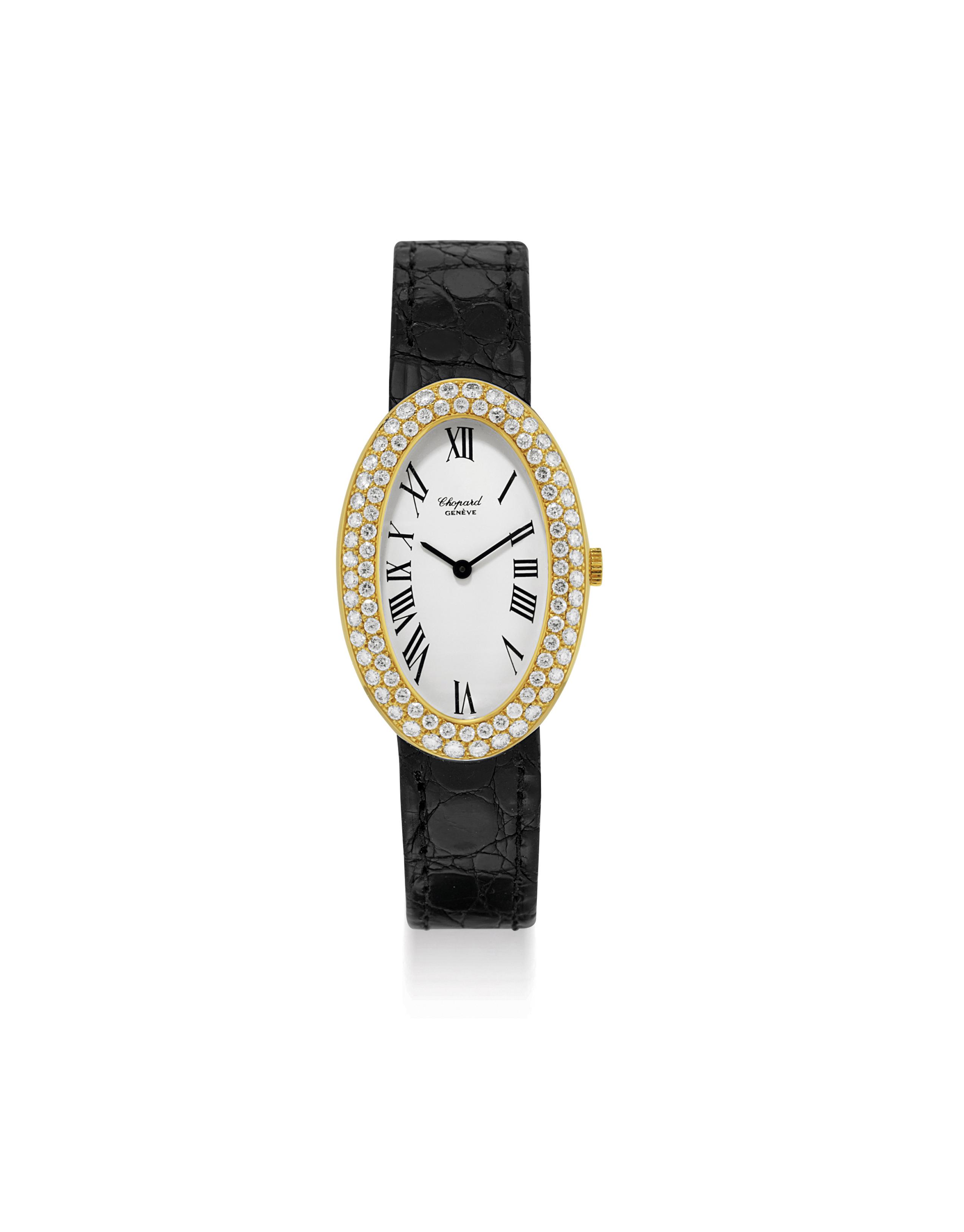 CHOPARD. A LADY'S FINE 18K GOLD AND DIAMOND-SET OVAL WRISTWATCH