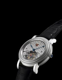 PARMIGIANI FLEURIER. A FINE AND RARE PLATINUM TOURBILLON WRISTWATCH WITH CERTIFICATE AND BOX