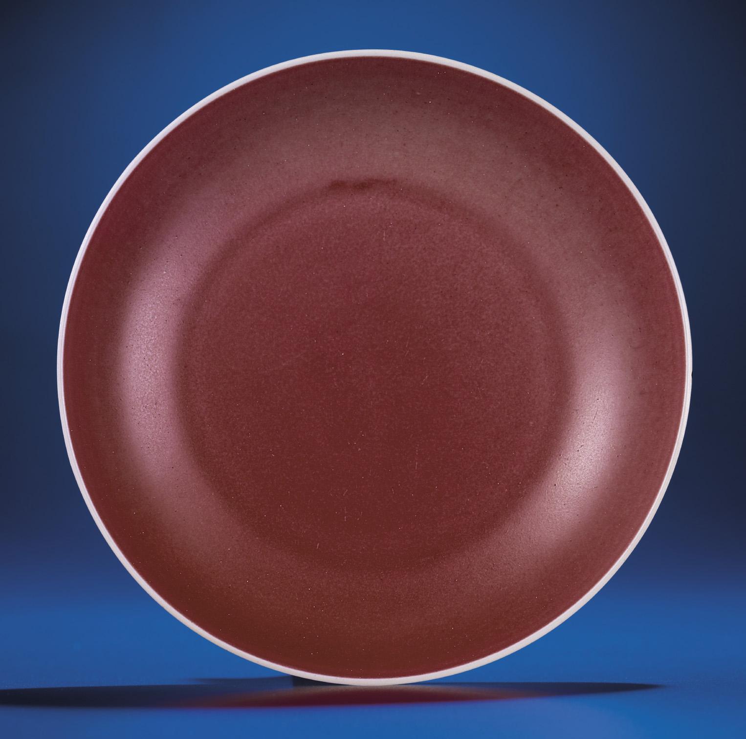 A COPPER-RED GLAZED DISH