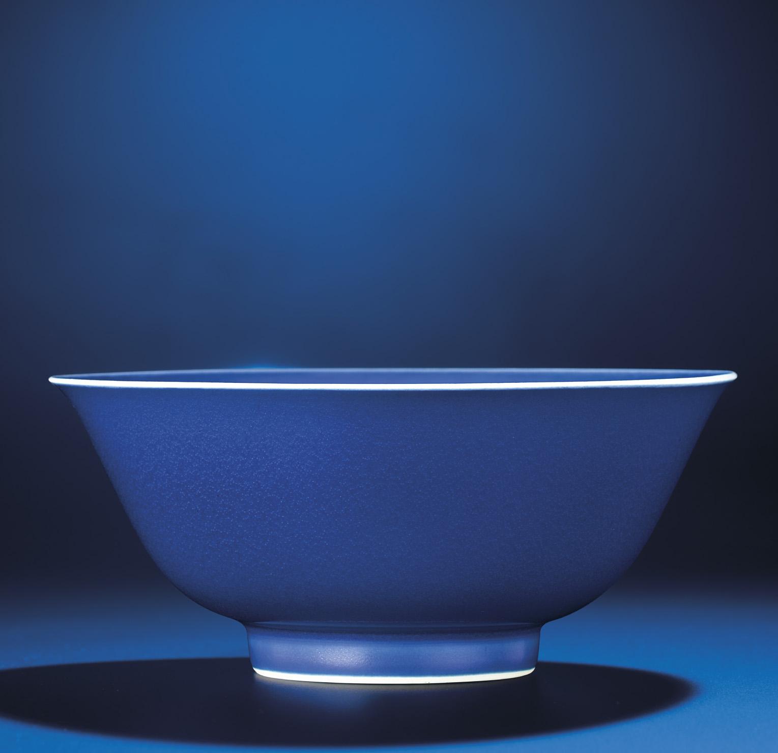 A FINE BLUE-GLAZED BOWL