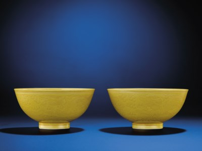 A FINE PAIR OF YELLOW-ENAMELLE
