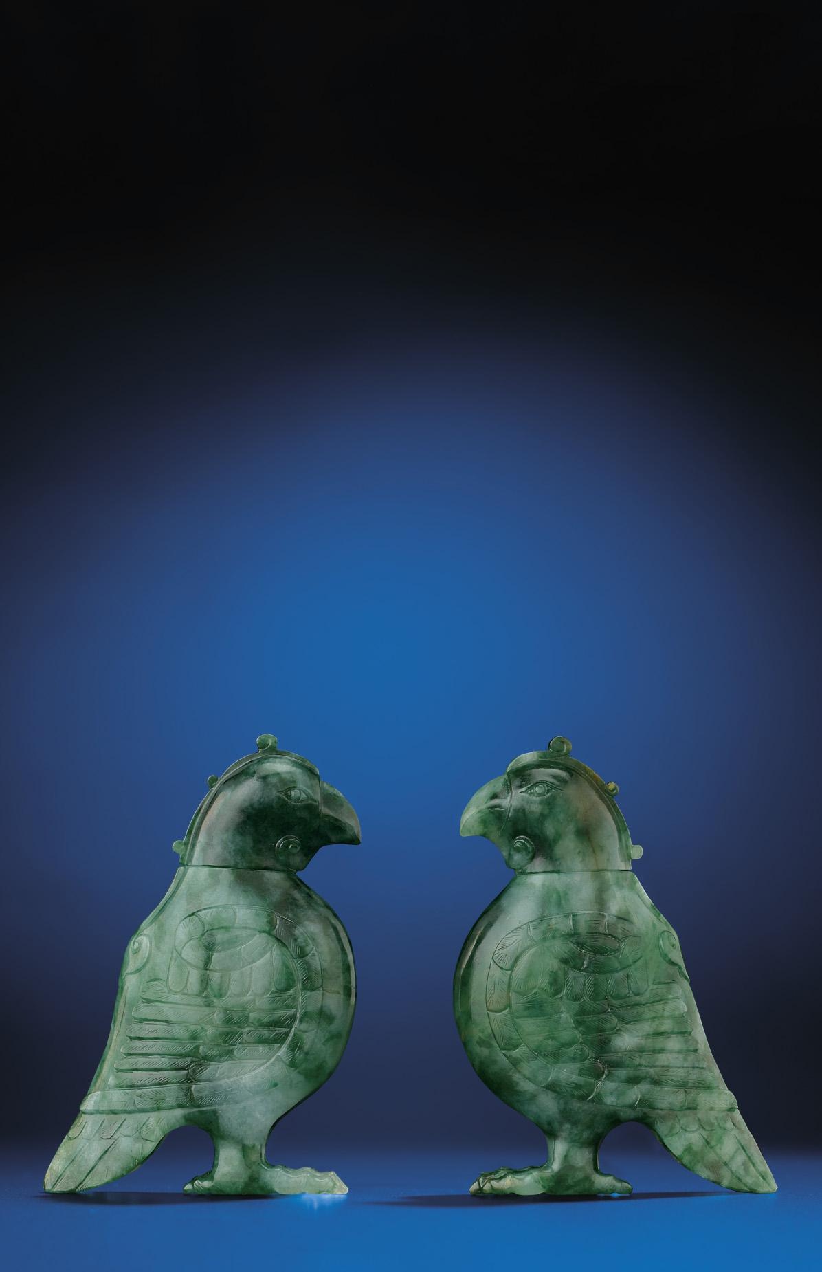 A PAIR OF JADEITE BIRD-FORM VE