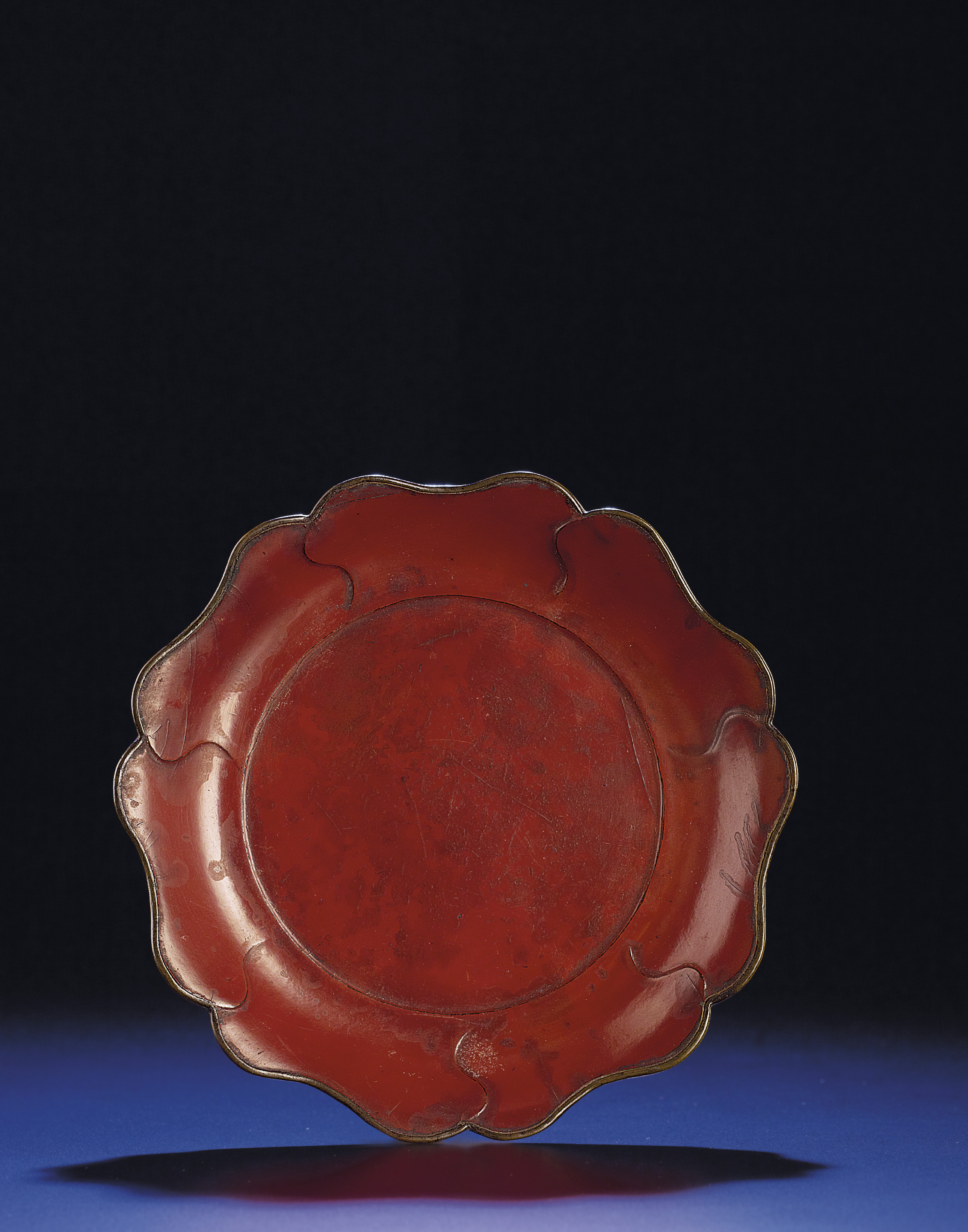 A RARE MALLOW-FORM RED LACQUER