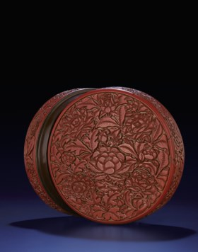 A VERY RARE AND SUPERBLY CARVED EARLY MING CINNABAR LACQUER