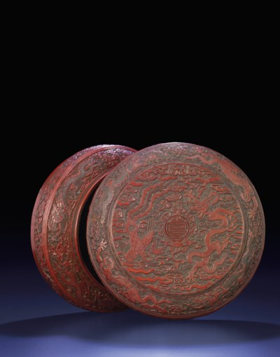 A MING CARVED POLYCHROME LACQU