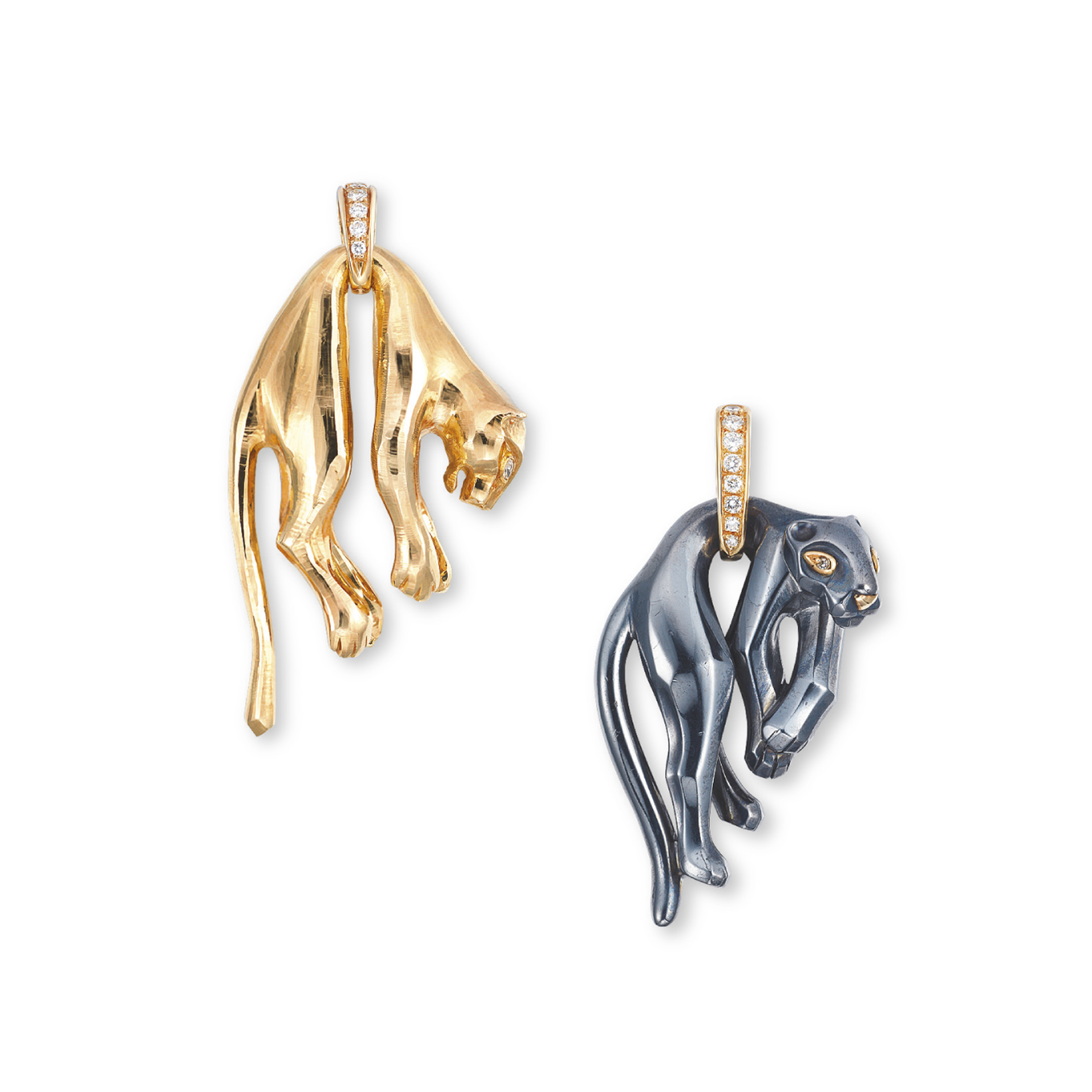TWO HEMATITE AND DIAMOND 'PANTHÈRE' PENDANTS, BY CARTIER