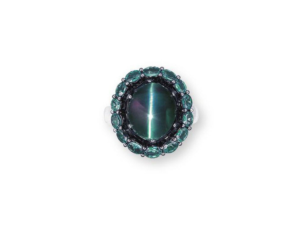 A CAT'S EYE ALEXANDRITE AND DI