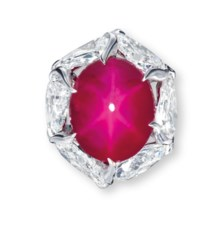 A MAGNIFICENT STAR RUBY AND DIAMOND RING, BY ETCETERA