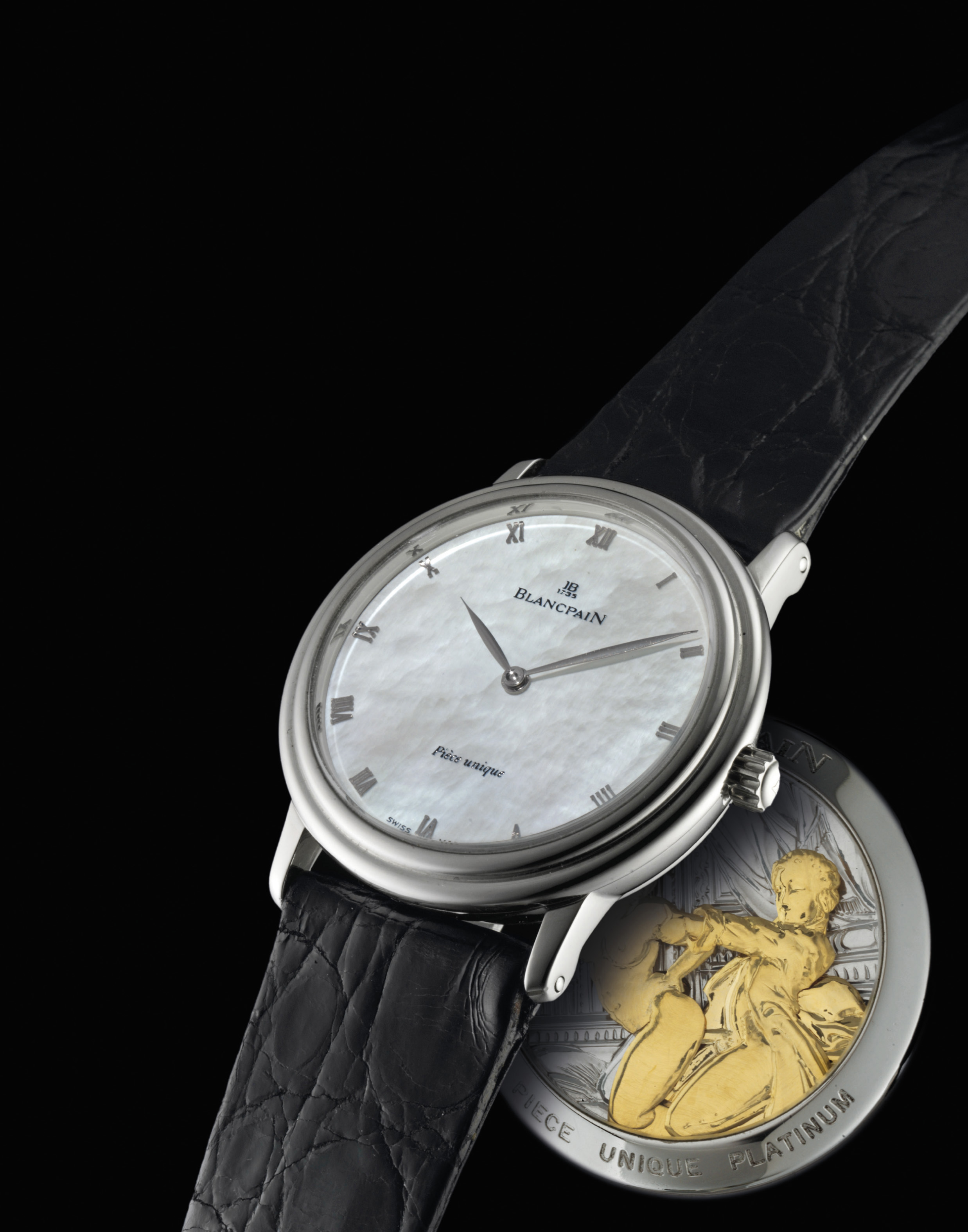 BLANCPAIN. A RARE AND UNIQUE PLATINUM MINUTE REPEATING WRISTWATCH WITH EROTIC AUTOMATON AND MOTHER-OF-PEARL DIAL