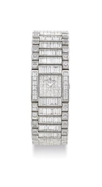 BAUME & MERCIER. A LADY'S IMPRESSIVE AND VERY RARE 18K WHITE GOLD AND RHODIUM-PLATED DIAMOND-SET BRACELET WATCH