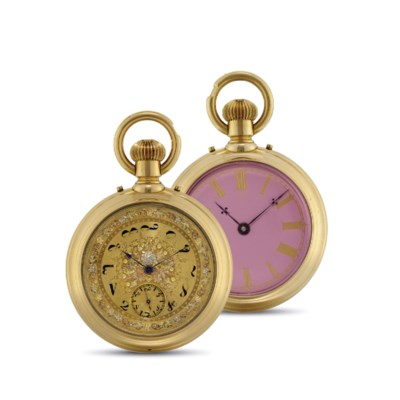 SWISS. A GOLD DOUBLE DIAL KEYL