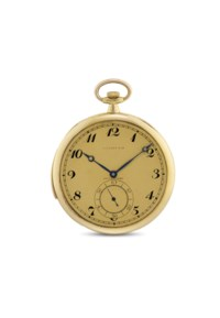 TOUCHON & CO MADE FOR TIFFANY & CO. A FINE AND SLIM 18K GOLD OPENFACE MINUTE REPEATING KEYLESS LEVER DRESS WATCH