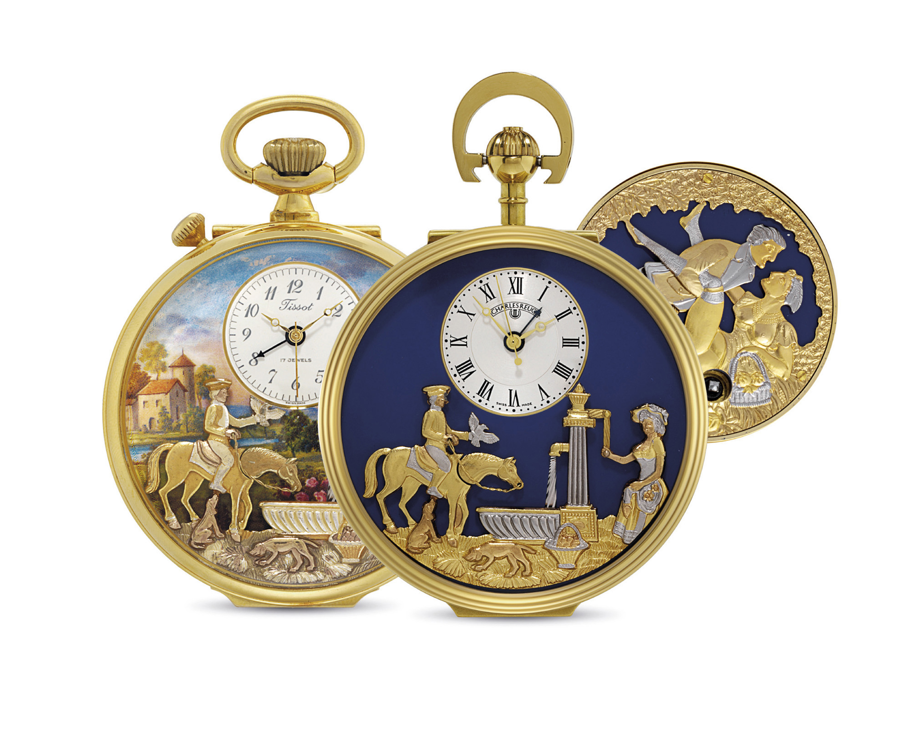 REUGE. A LOT OF TWO GOLD-PLATED OPENFACE KEYLESS LEVER WATCHES WITH MUSICAL AUTOMATON AND ALARM, THE SECOND ALSO WITH CONCEALED EROTIC AUTOMATON