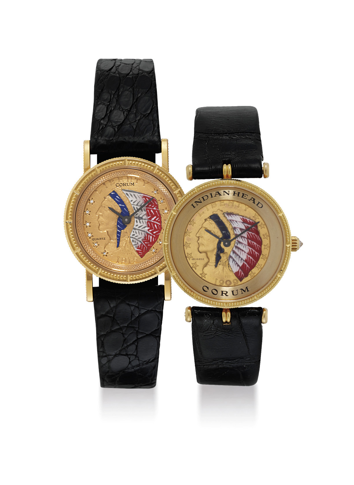 CORUM. A GROUP OF TWO 18K GOLD