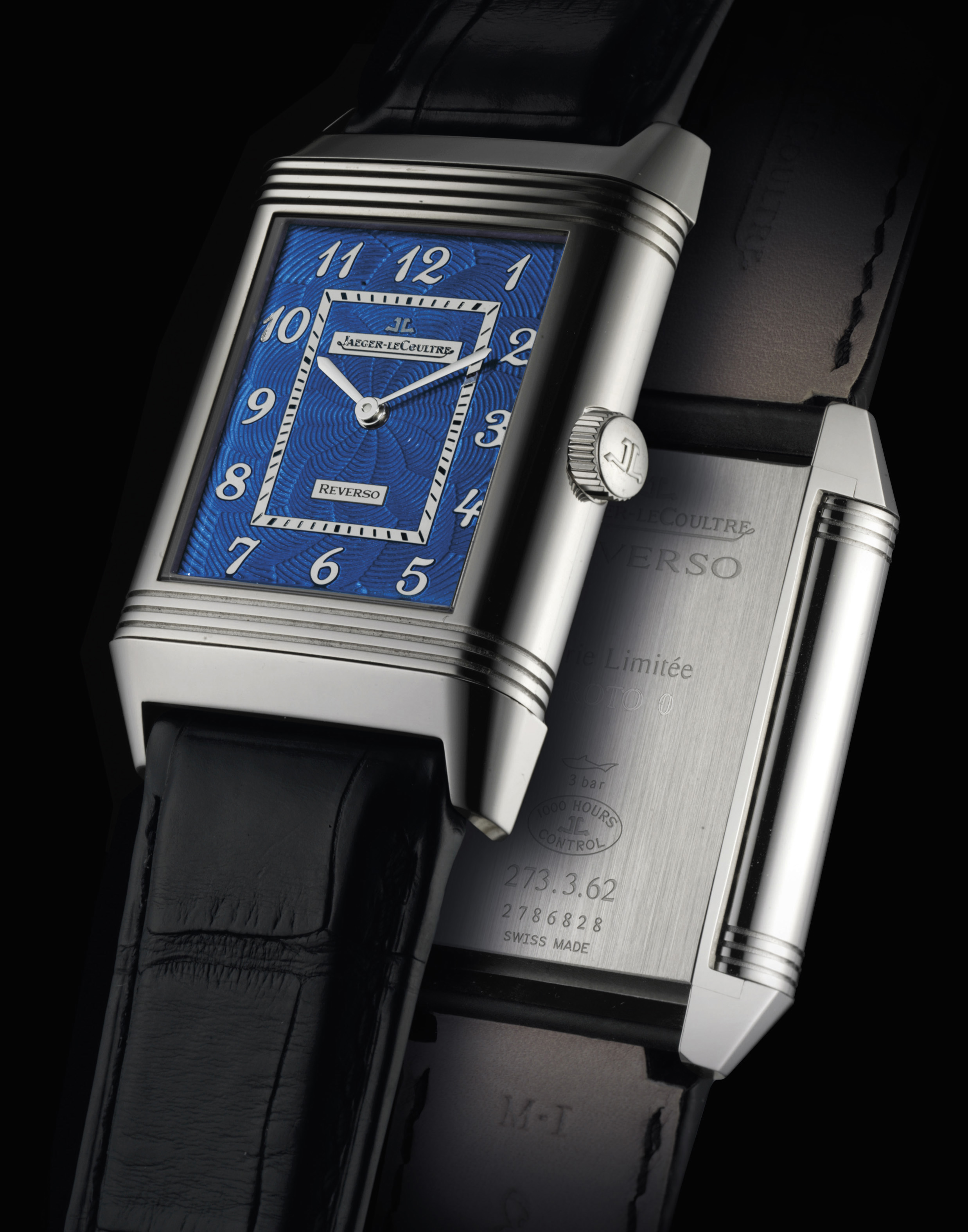 JAEGER-LECOULTRE. A FINE, LARGE AND VERY RARE PROTOTYPE REVERSO WRISTWATCH WITH BLUE ENAMEL DIAL