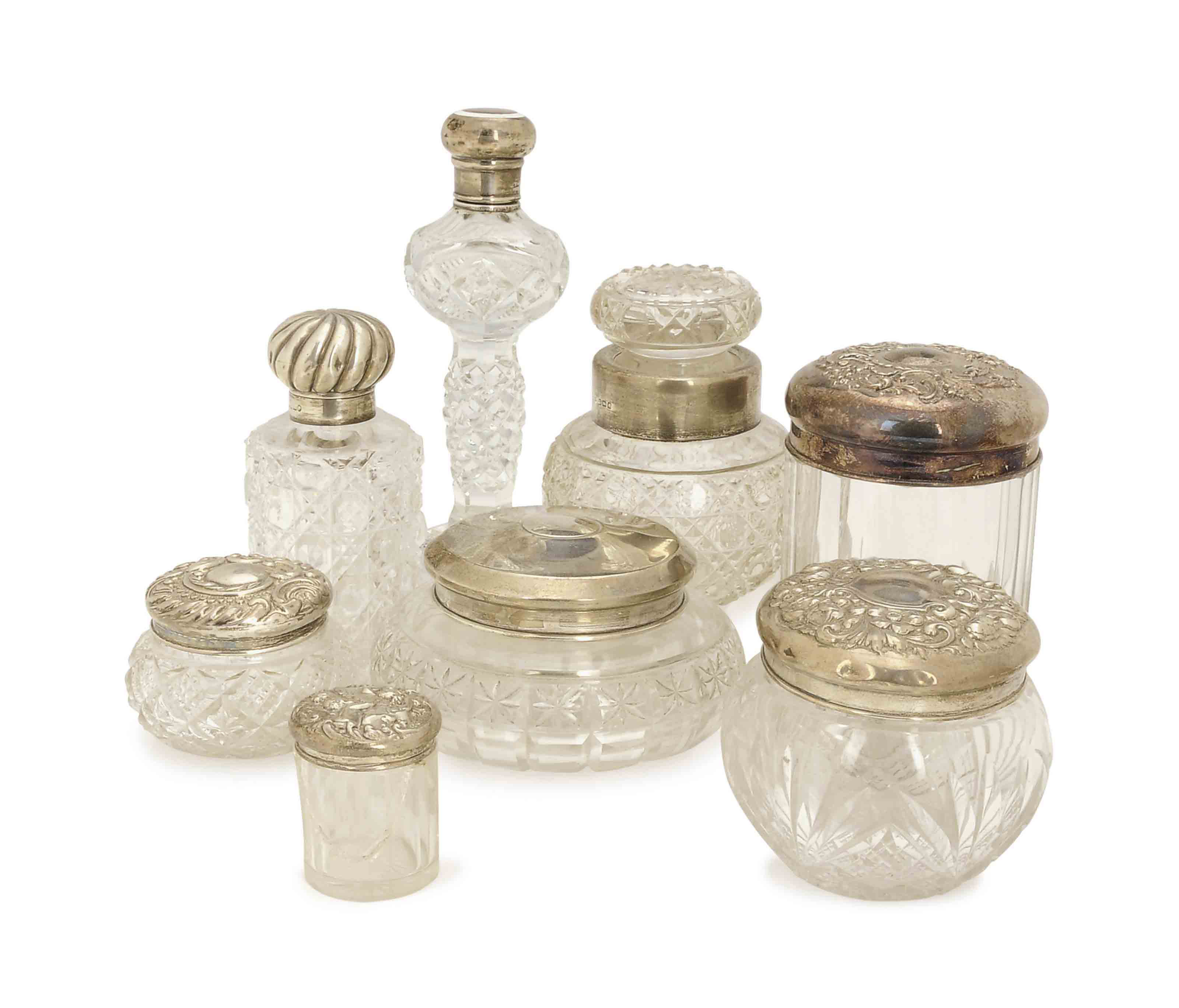 A GROUP OF EIGHT SILVER-MOUNTE