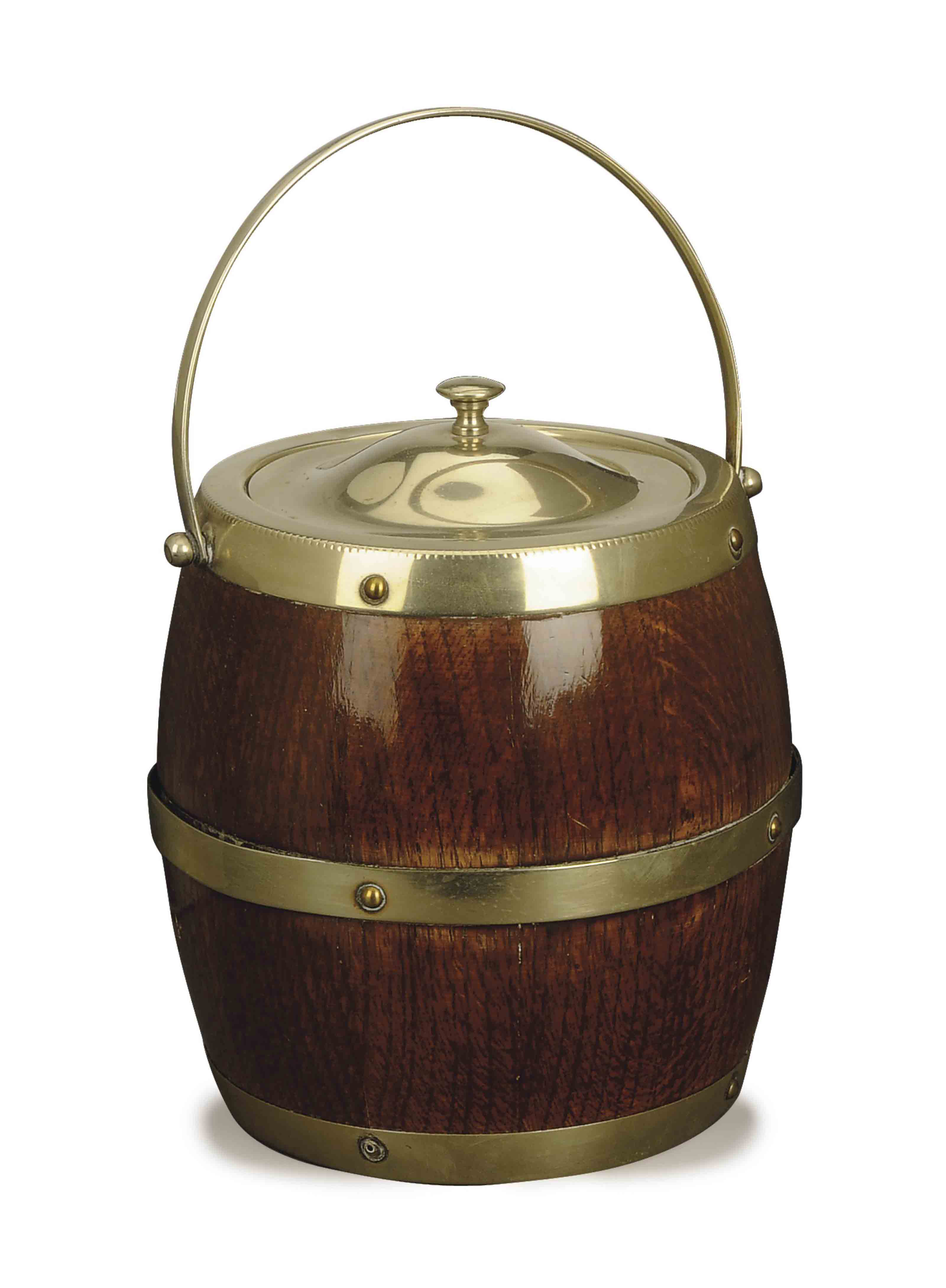 A SILVER PLATE AND WOOD BARREL