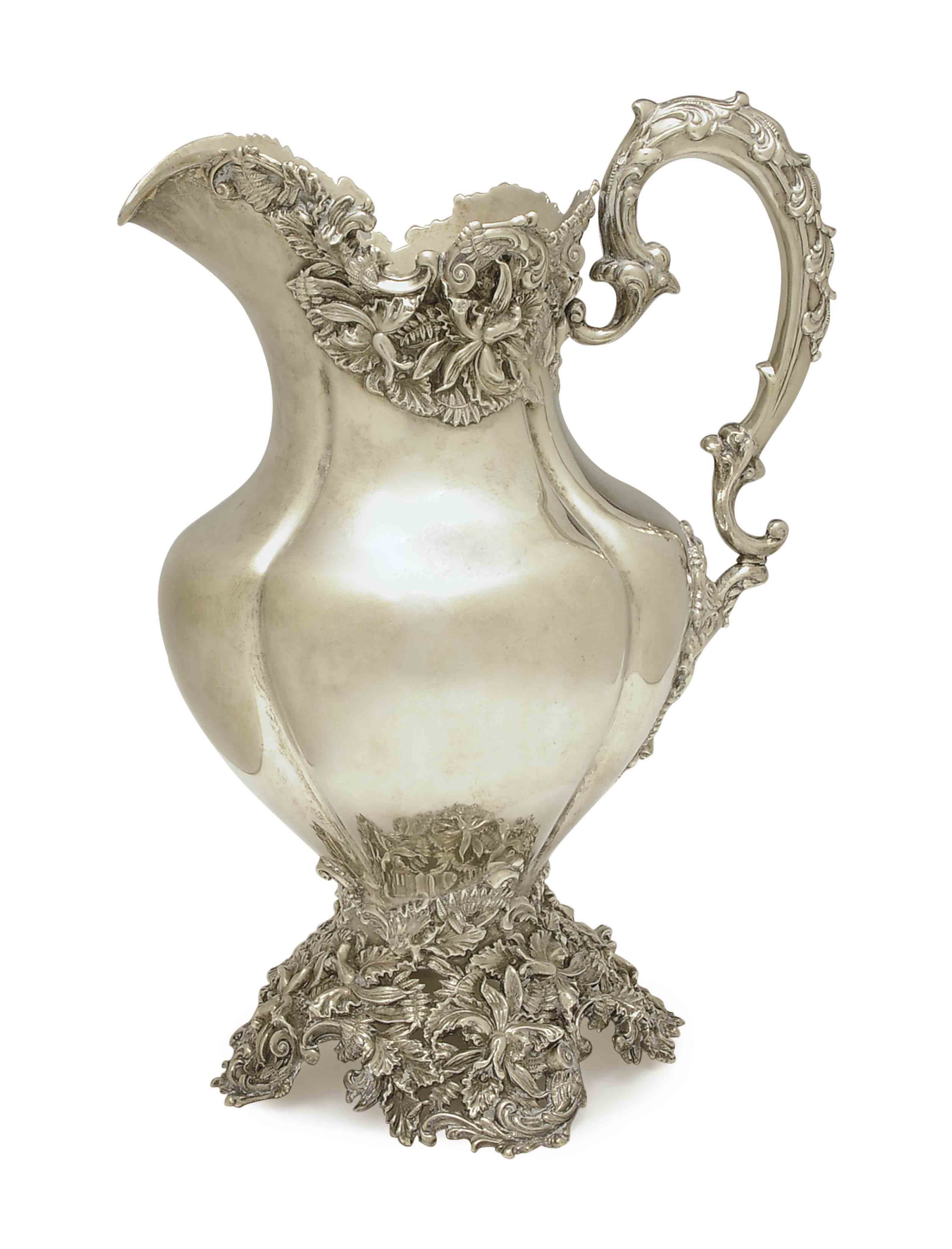AN AMERICAN SILVER FOOTED WATER PITCHER,