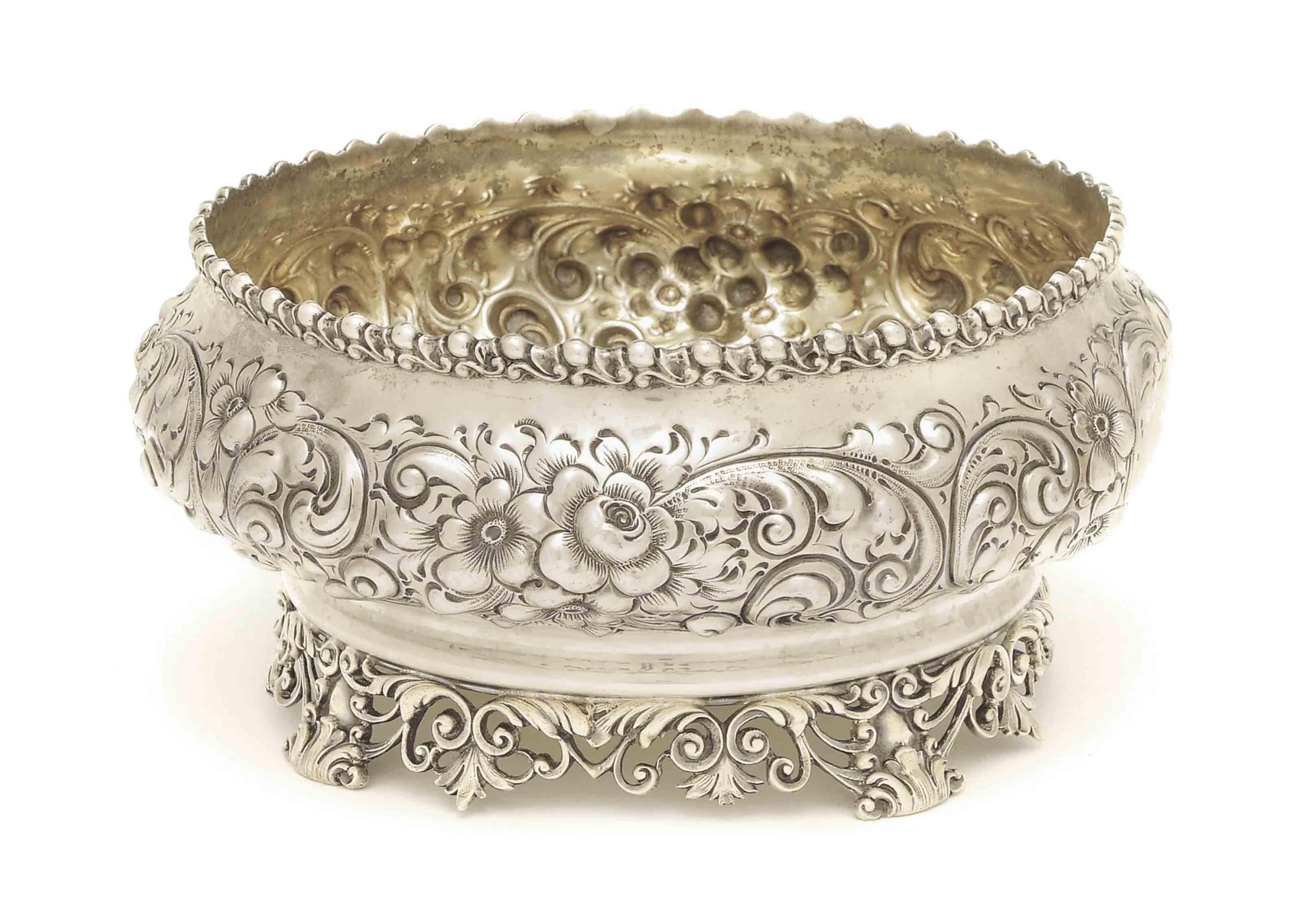 AN AMERICAN SILVER REPOUSSE FO