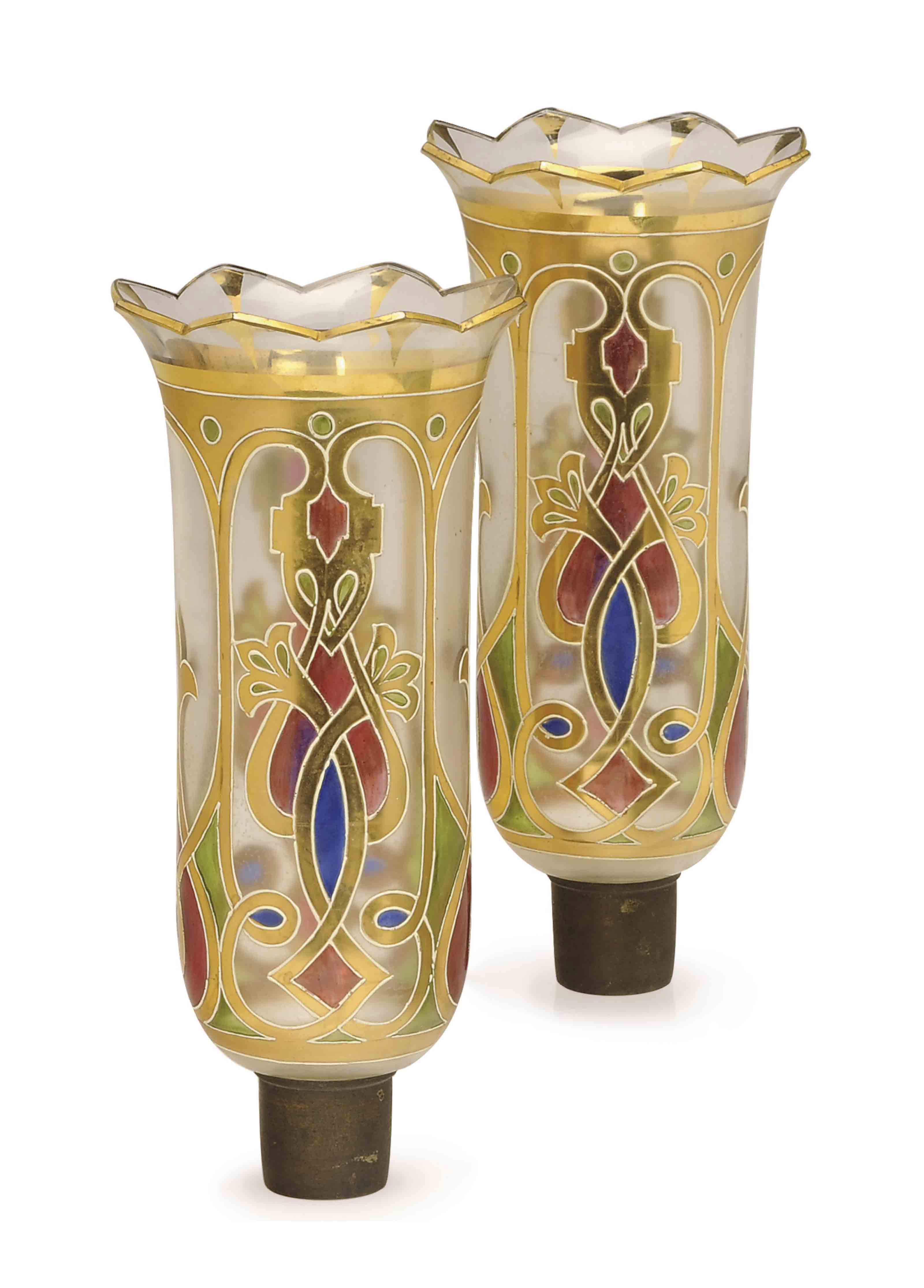 A PAIR OF GILT AND ENAMELED GL