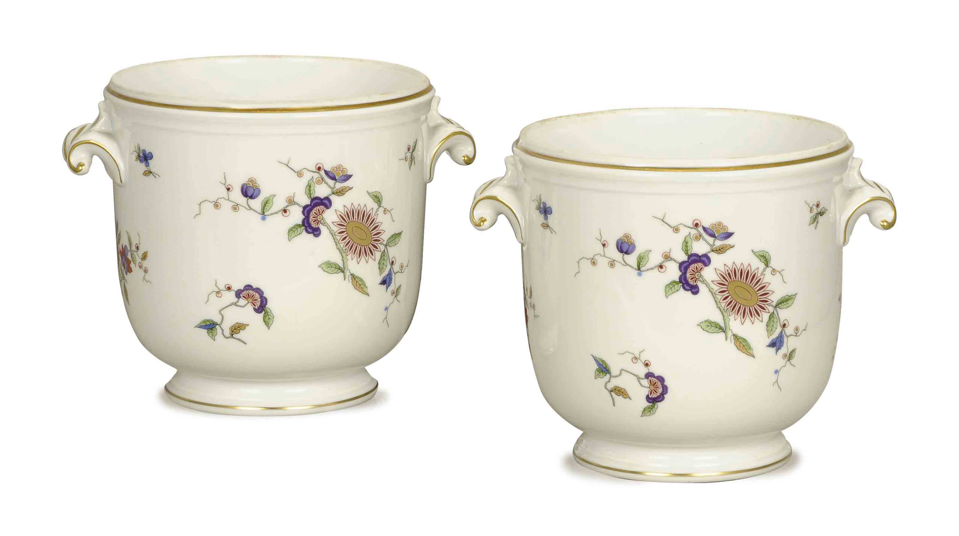 A PAIR OF ITALIAN PORCELAIN BOTTLE COOLERS,