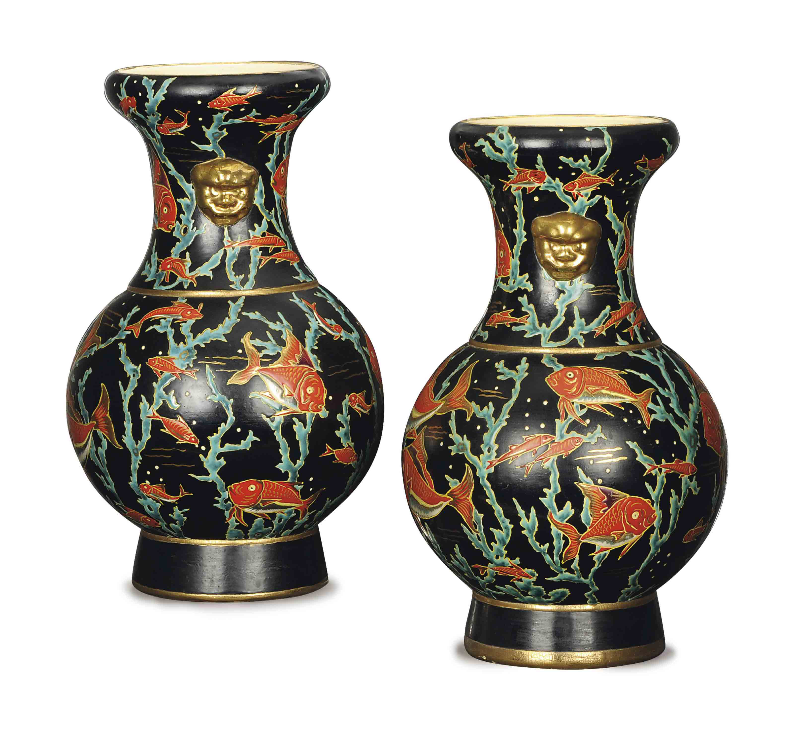 A PAIR OF FRENCH BLACK-GROUND PORCELAIN VASES ENAMELED WITH FISH,