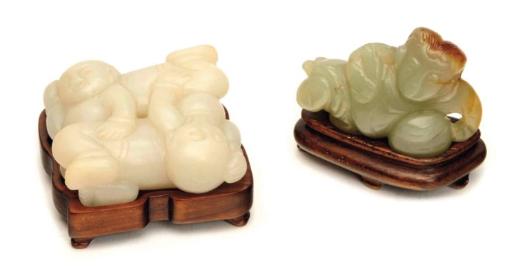 TWO CHINESE JADE CARVING OF BO