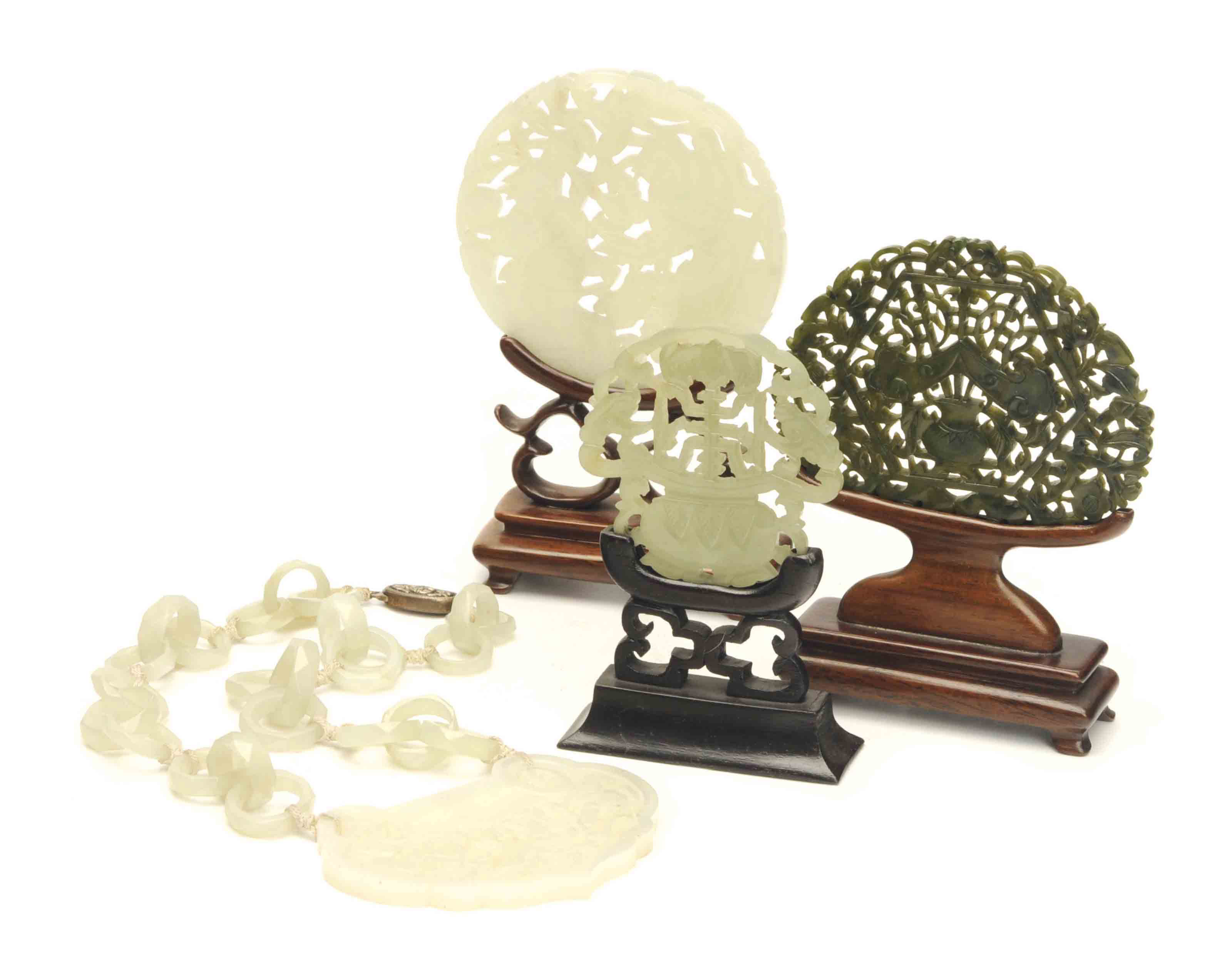 THREE CHINESE JADE PLAQUES AND