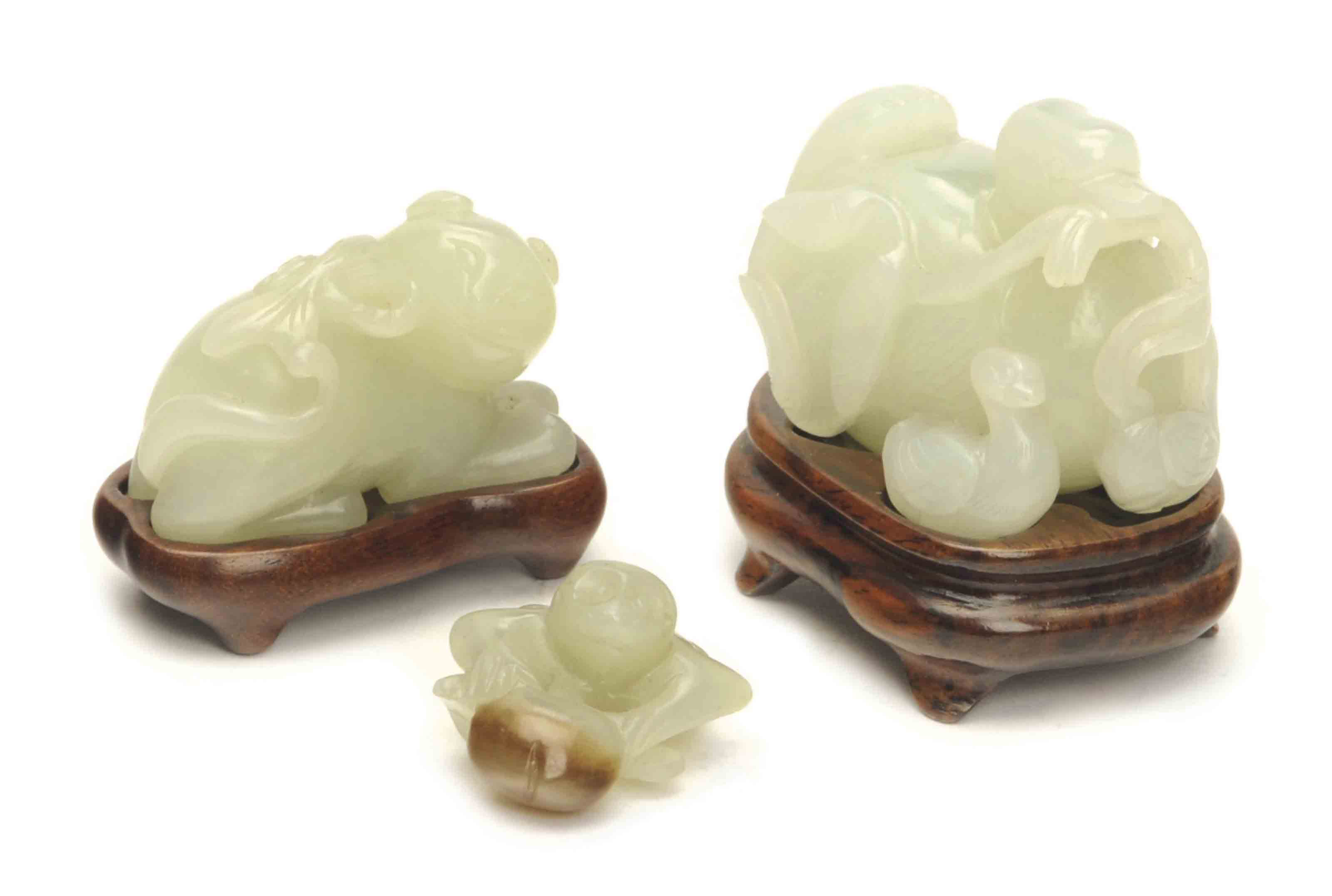THREE CHINESE JADE CARVINGS OF