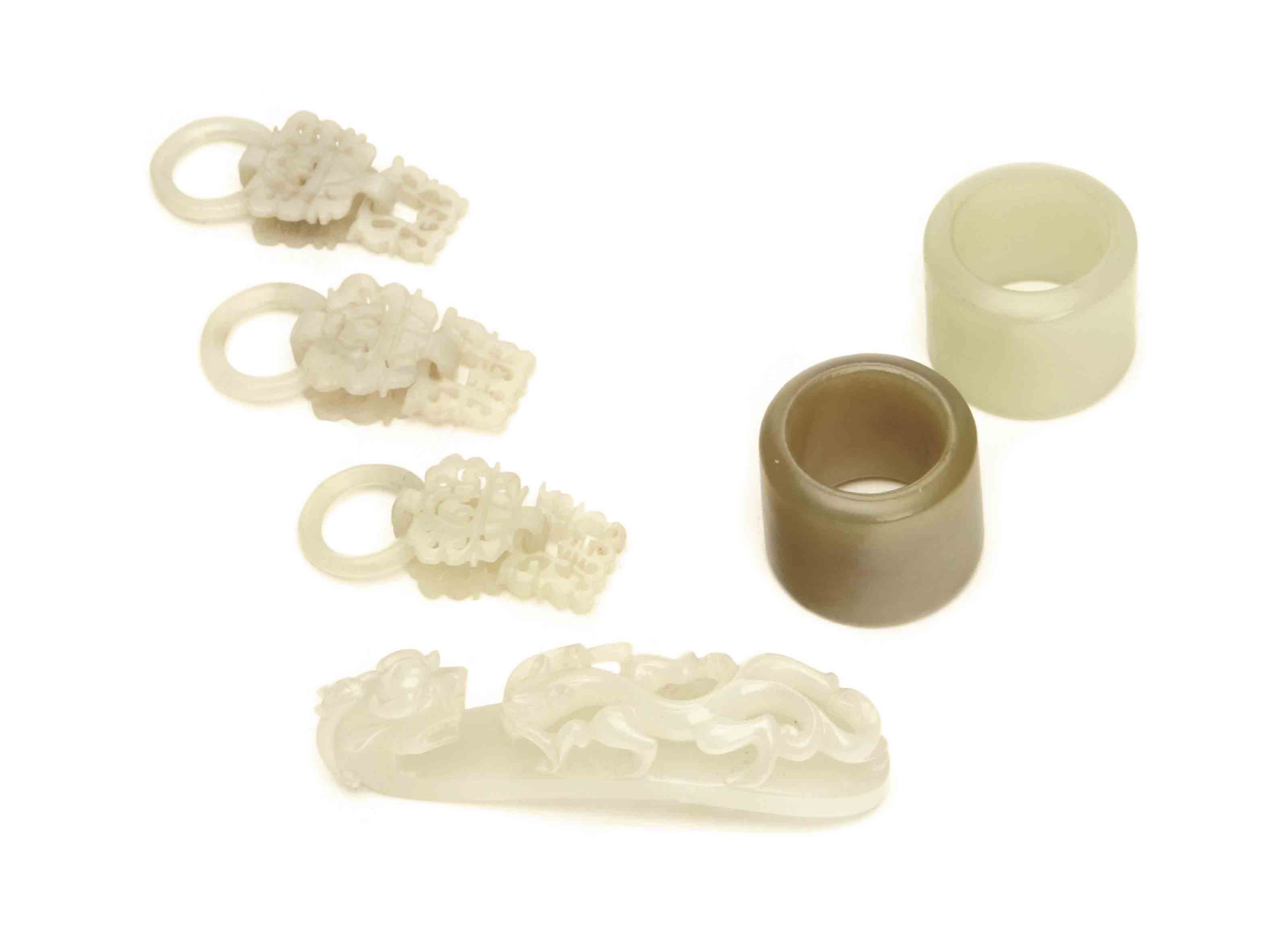 SIX CHINESE JADE ACCESSORIES,