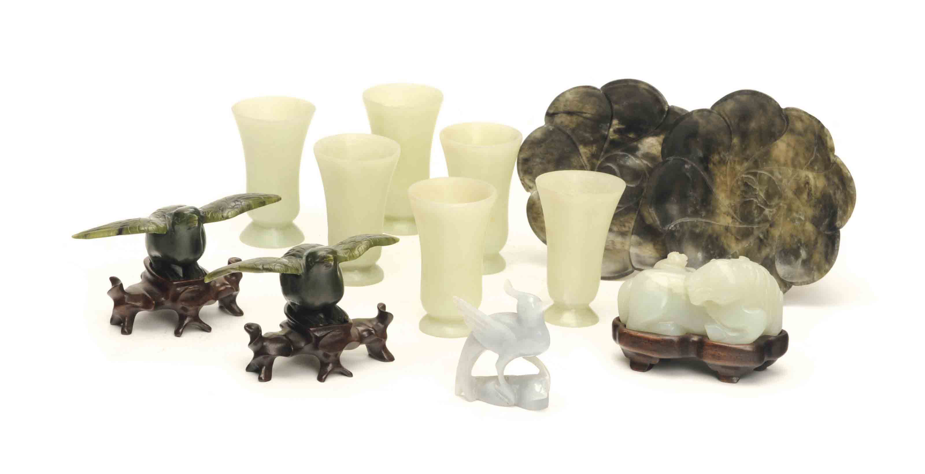 TWELVE CHINESE JADE ITEMS,