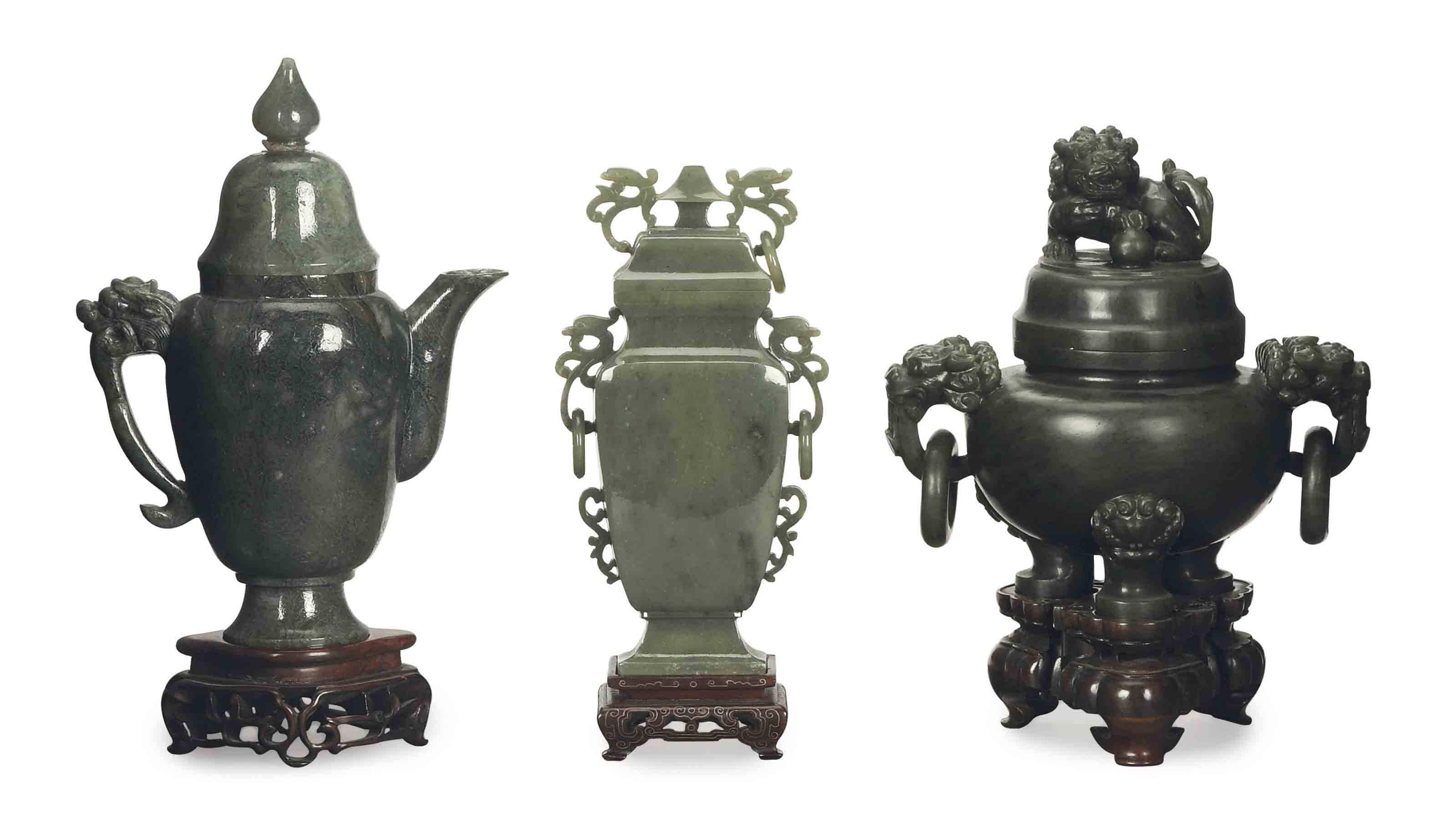 A CHINESE JADE CENSER AND COVE