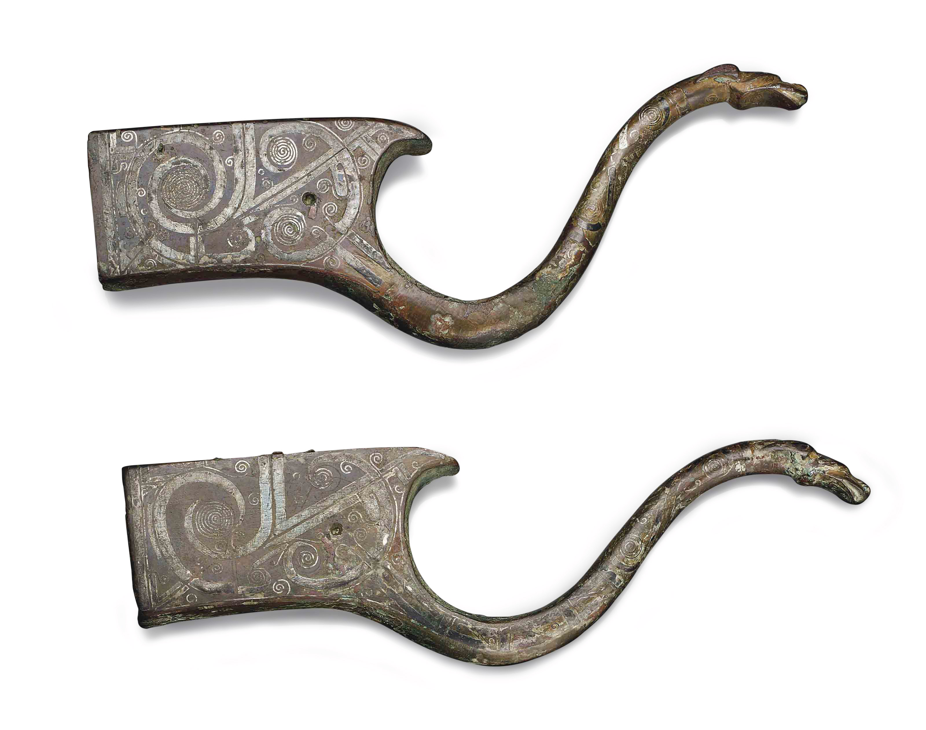 A PAIR OF CHINESE SILVER-INLAI