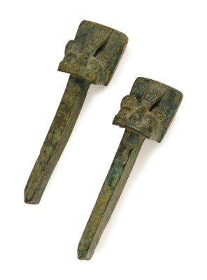 A PAIR OF CHINESE INLAID BRONZ