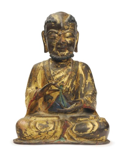 A CHINESE GILT BRONZE SEATED B