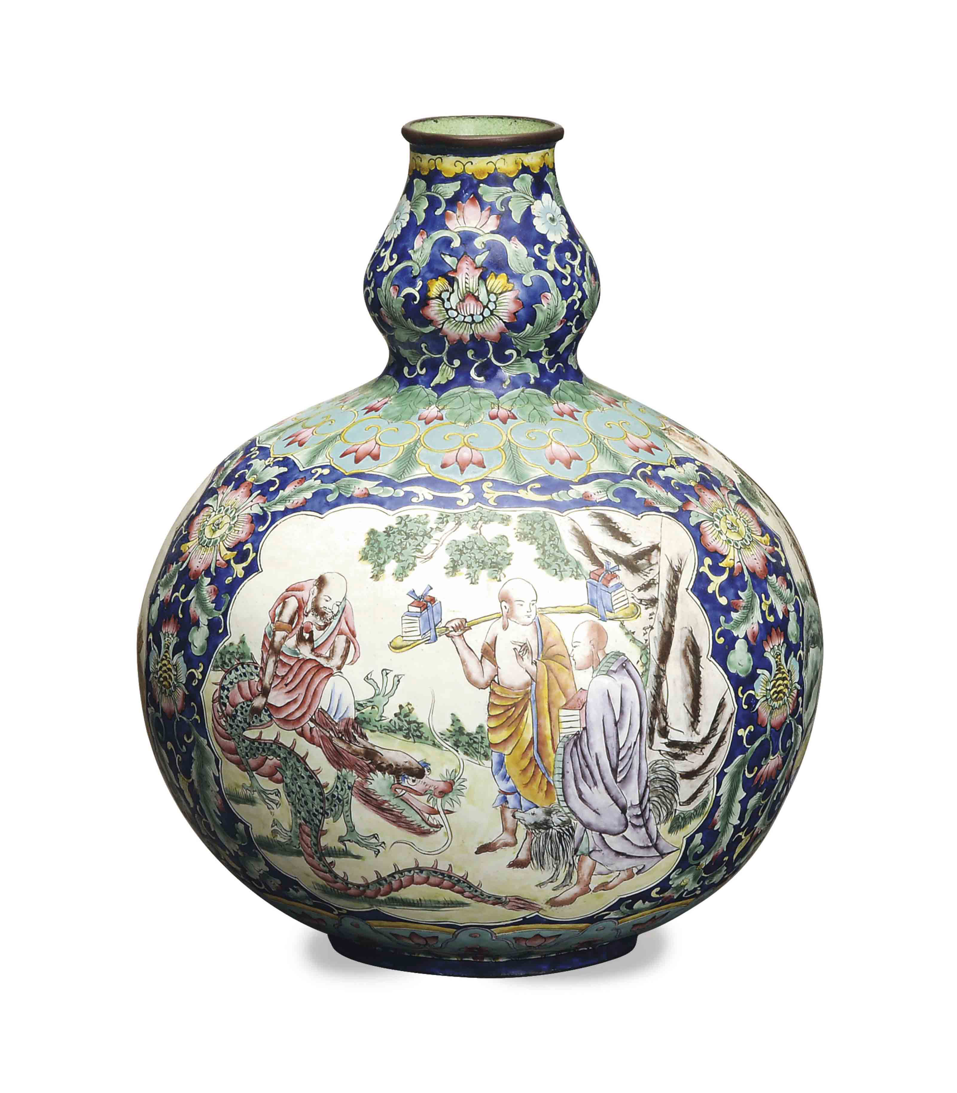 A CHINESE ENAMELED DOUBLE GOUR