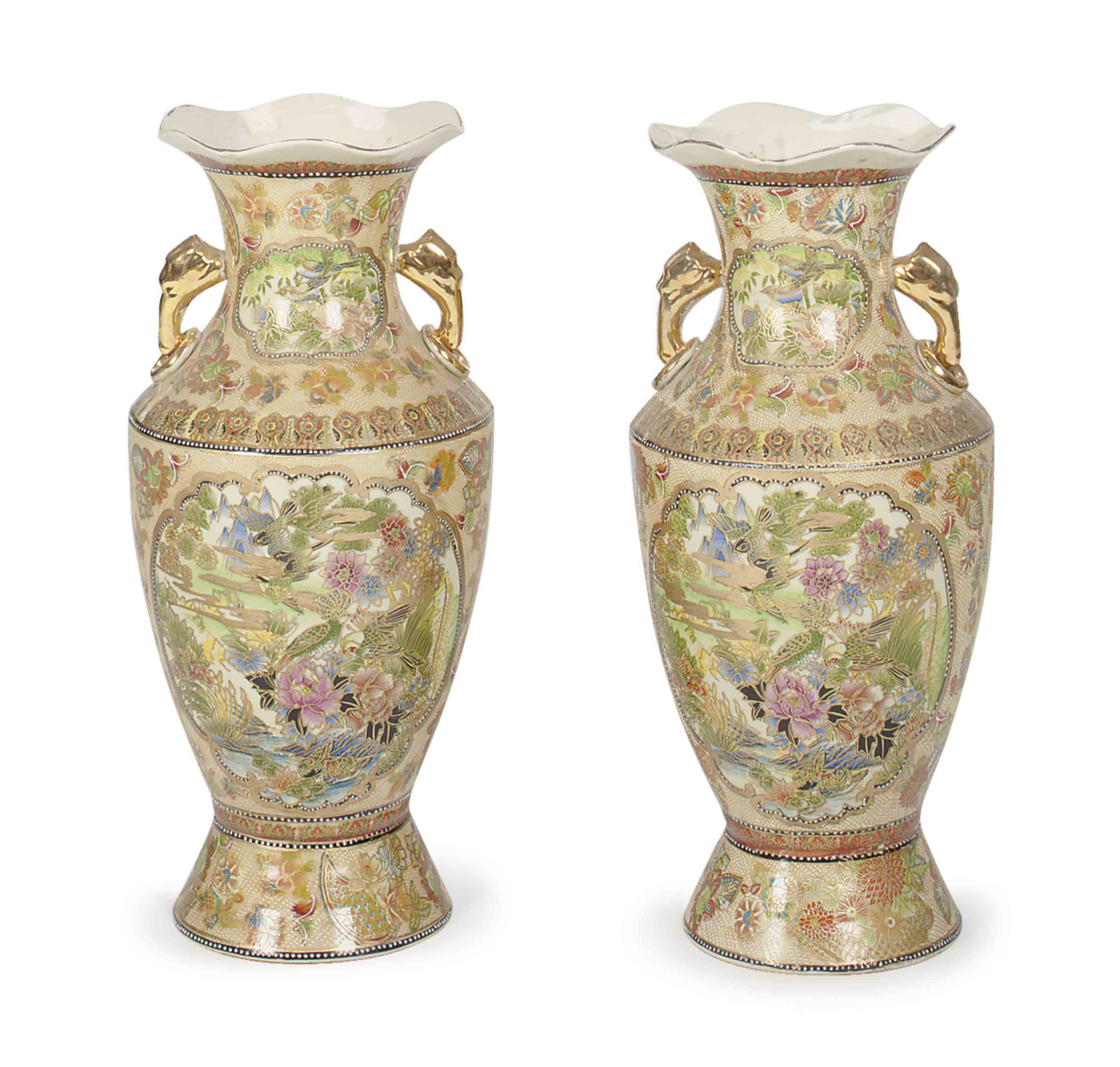 A PAIR OF SATSUMA-STYLE VASES,