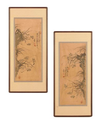 TWO KOREAN PAINTINGS OF ORCHID