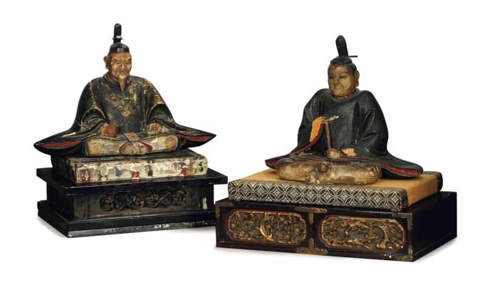 TWO JAPANESE PAINTED WOOD FIGU