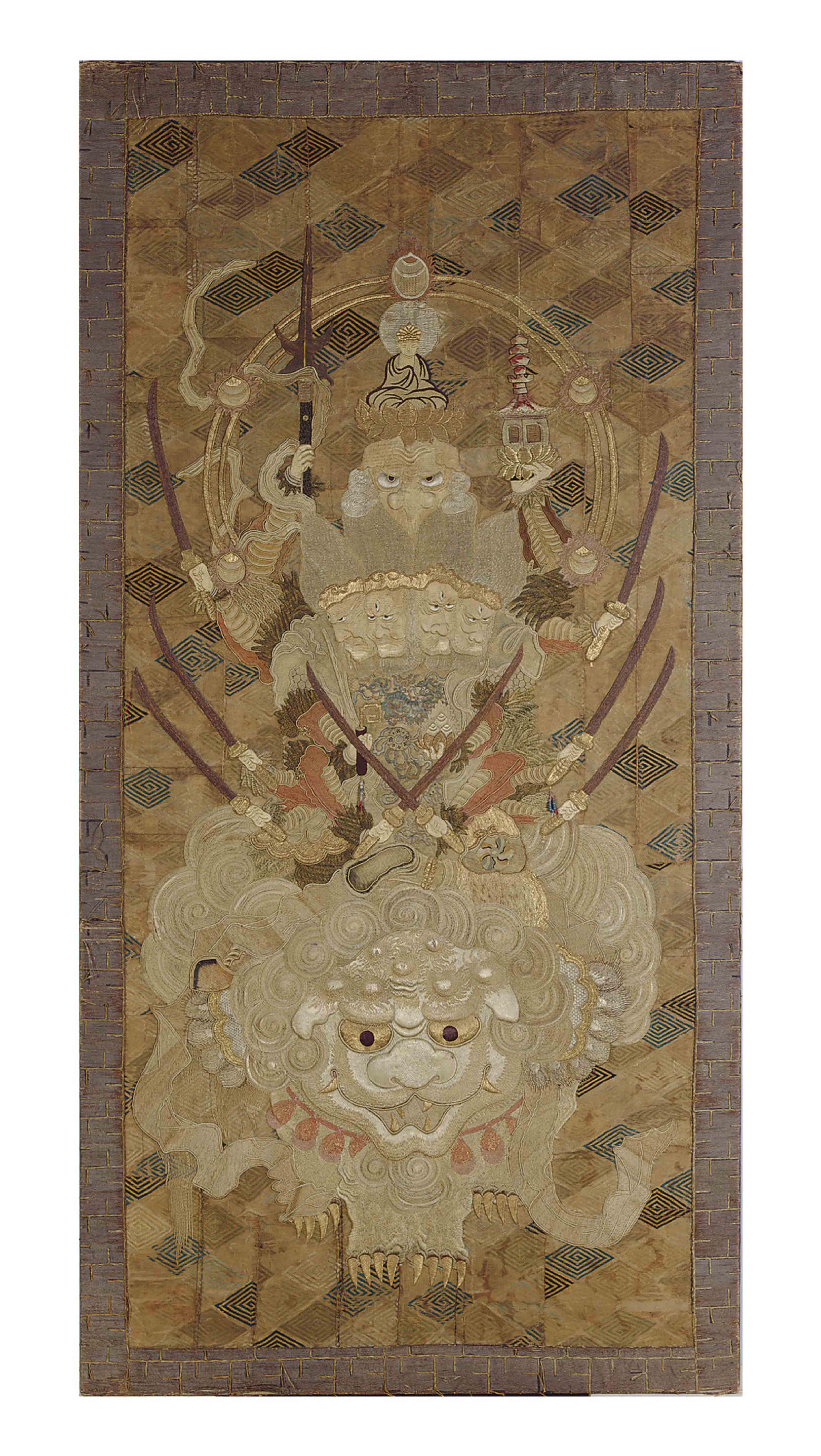 A JAPANESE SILK EMBROIDERED PA
