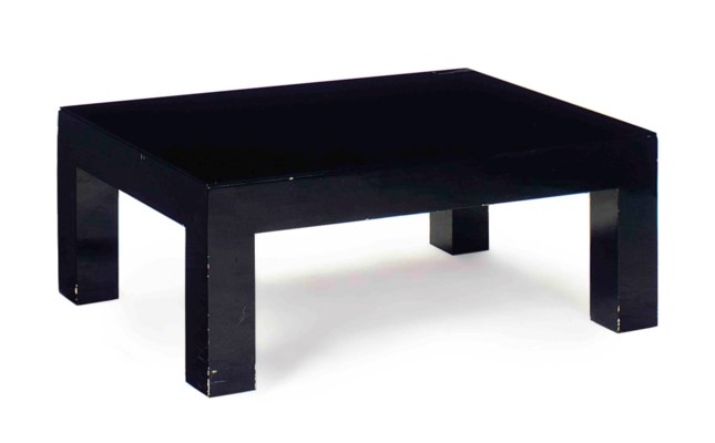 A BLACK LACQUERED RECTANGULAR