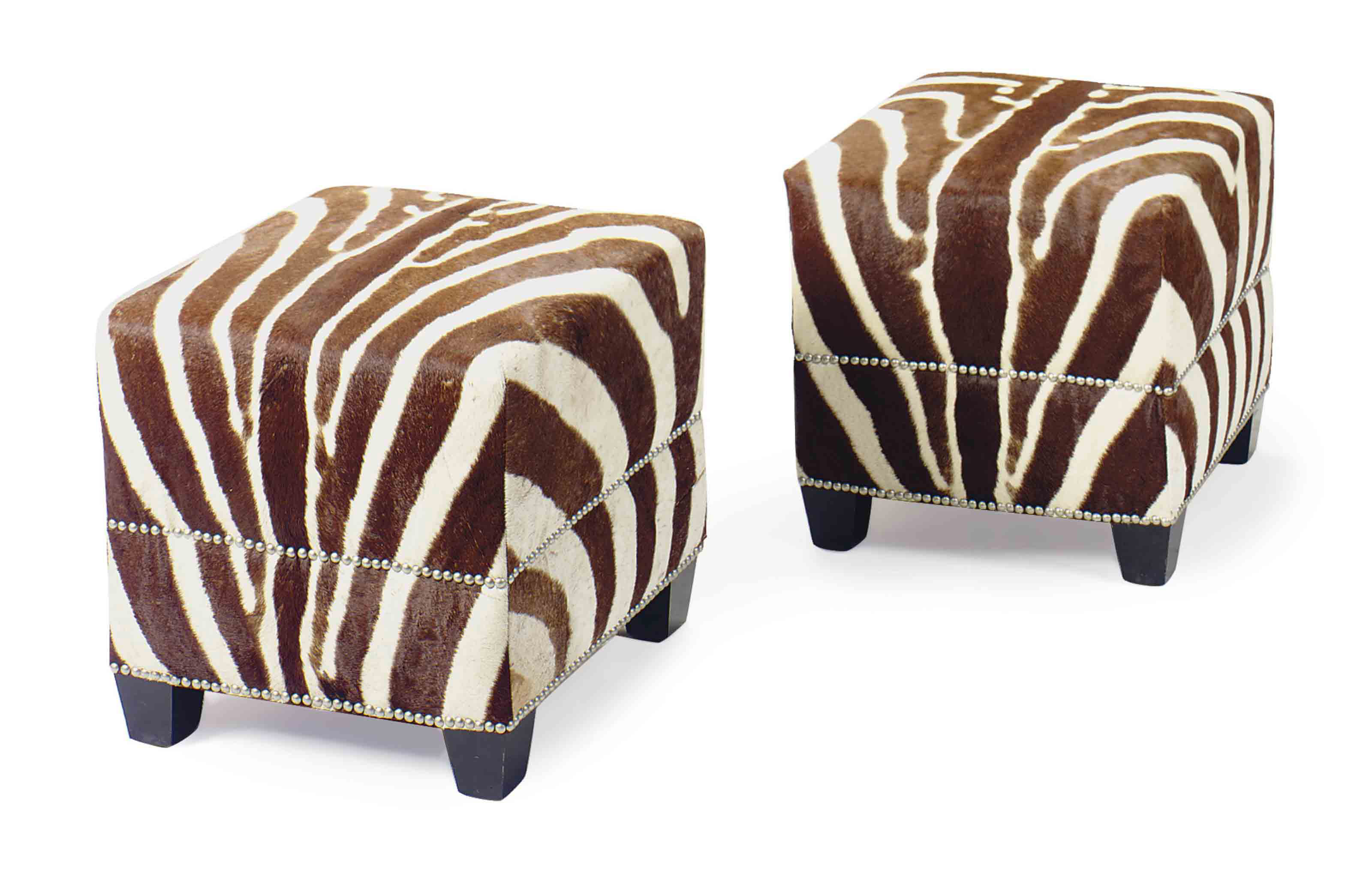 A PAIR OF ZEBRA HIDE COVERED S