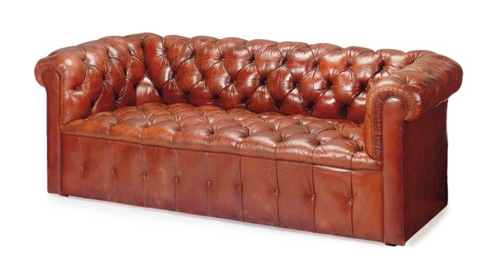 A BROWN LEATHER CHESTERFIELD S